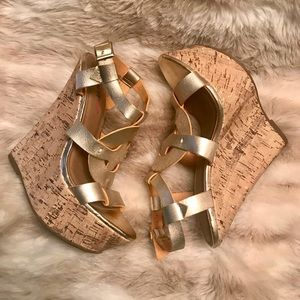 Faux leather gold wedges